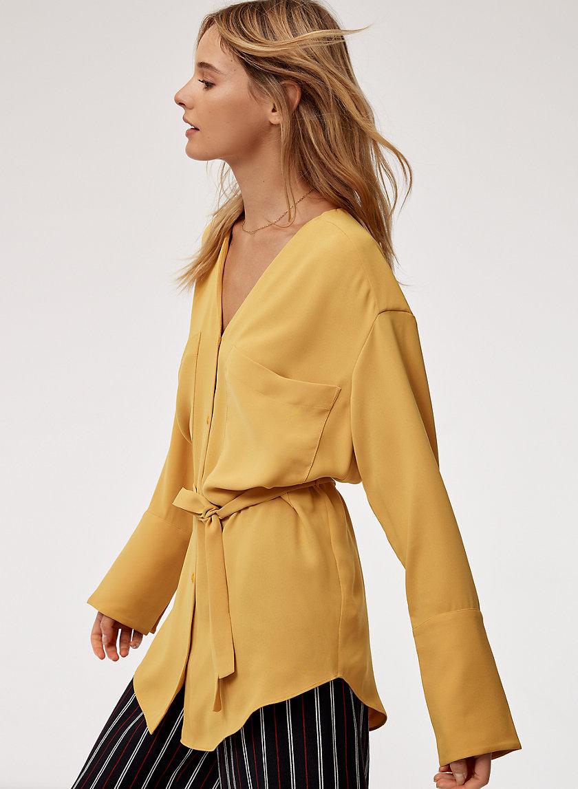 ZELIE SHIRT - Belted, v-neck blouse