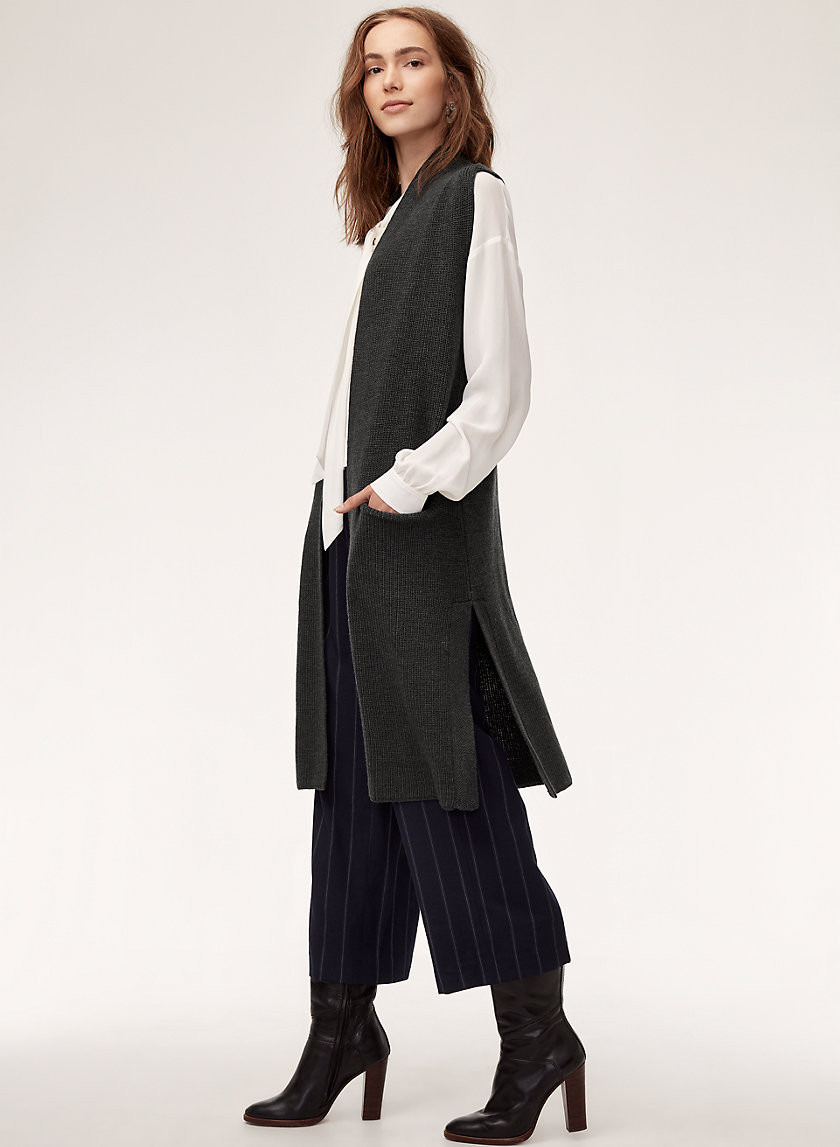 OLIVIE CARDIGAN - Long, merino-wool cardigan vest