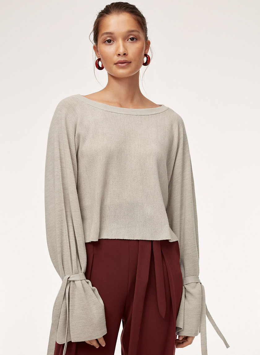 EMMY SWEATER - Cropped, cuff-tie wool sweater