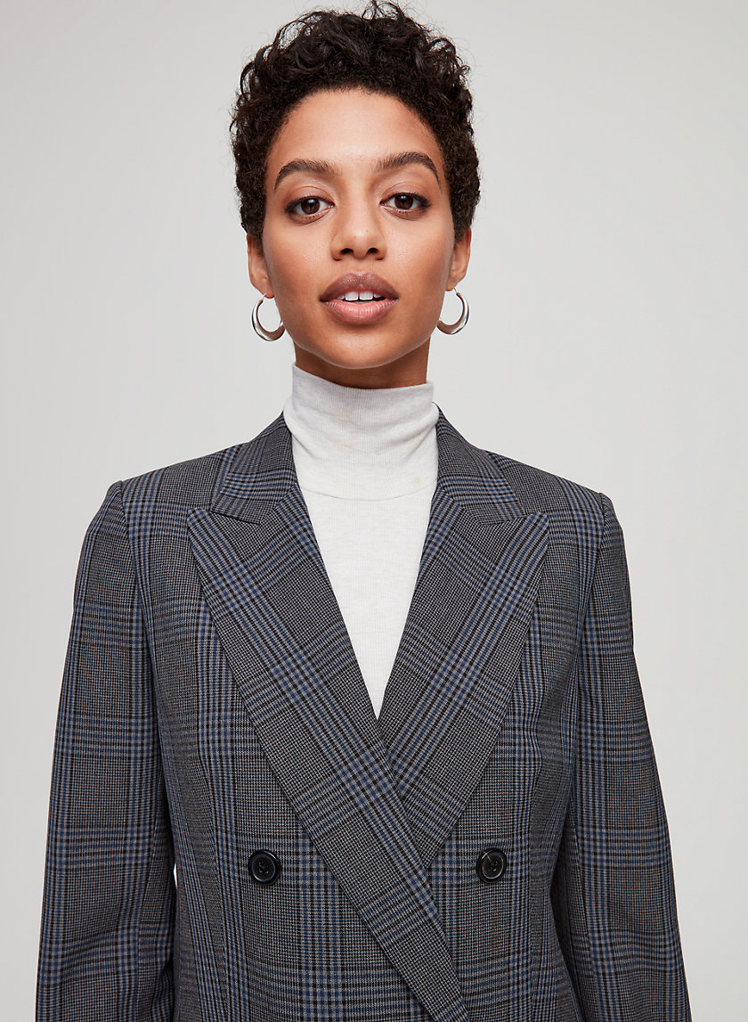 MARGAUX BLAZER - Double-breasted plaid blazer
