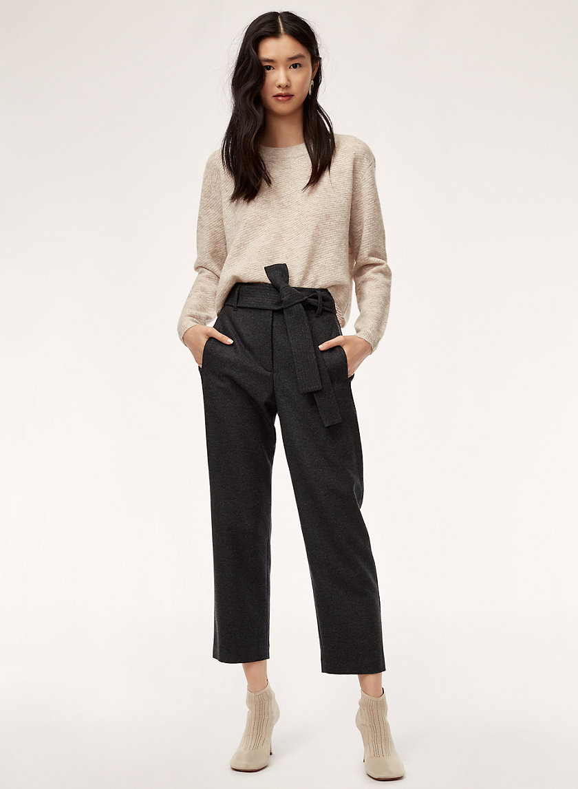 TIE-FRONT PANT - Cropped, high-waisted pant