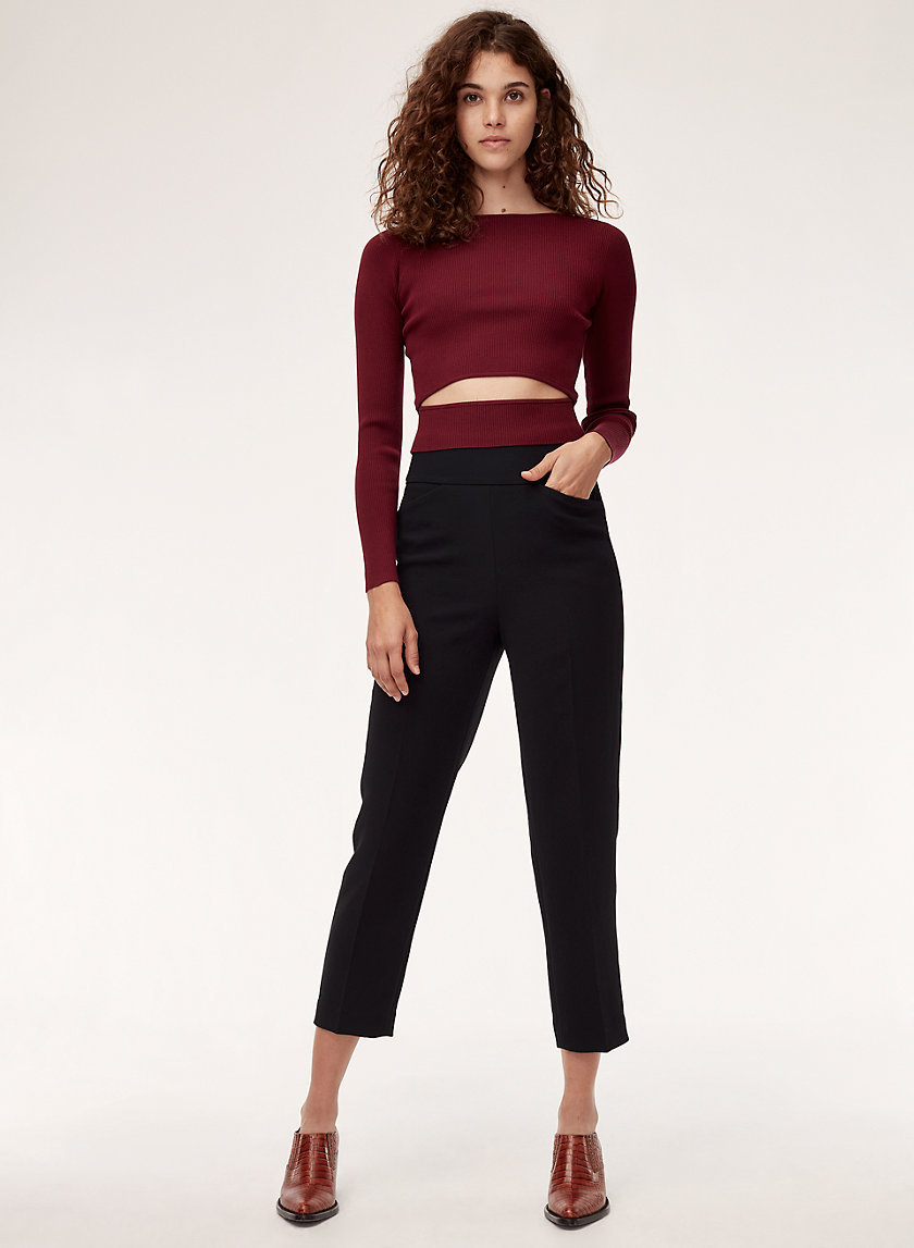 GENEVA PANT - Cropped, high-waisted, belted pant