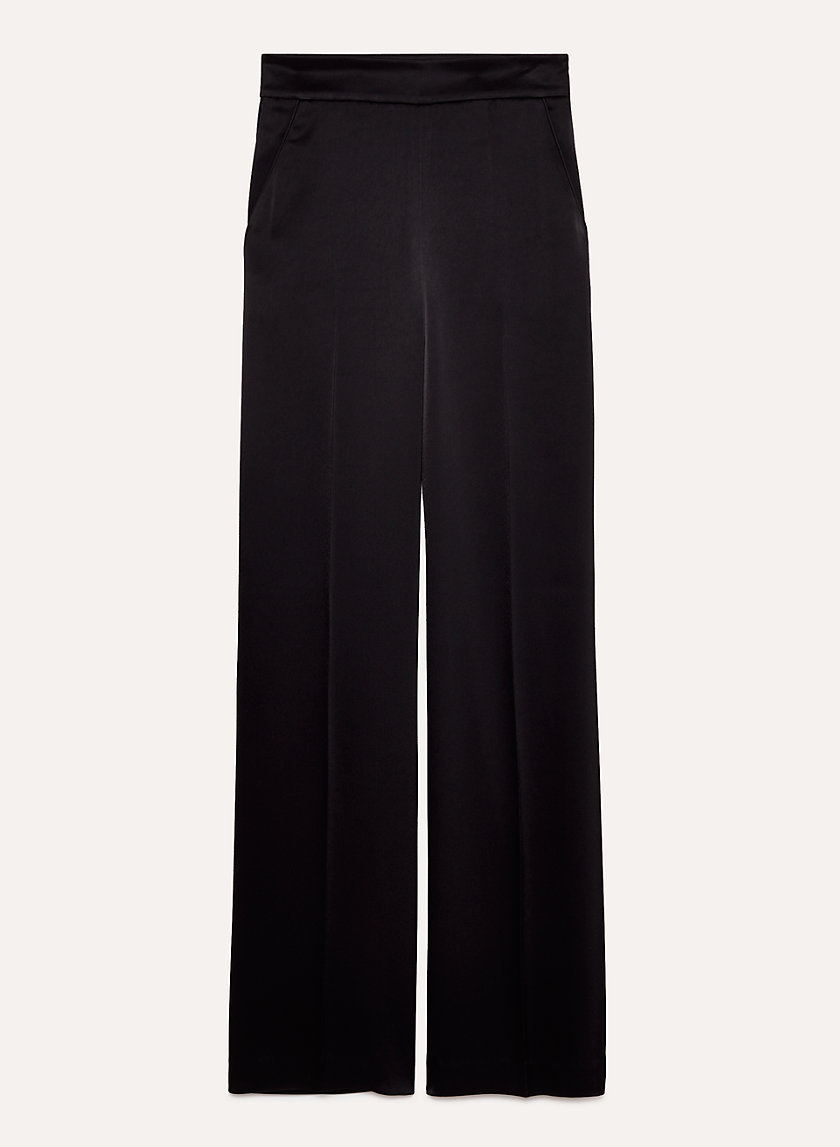 CLARISSE PANT - High-waisted, satin, wide-leg pant