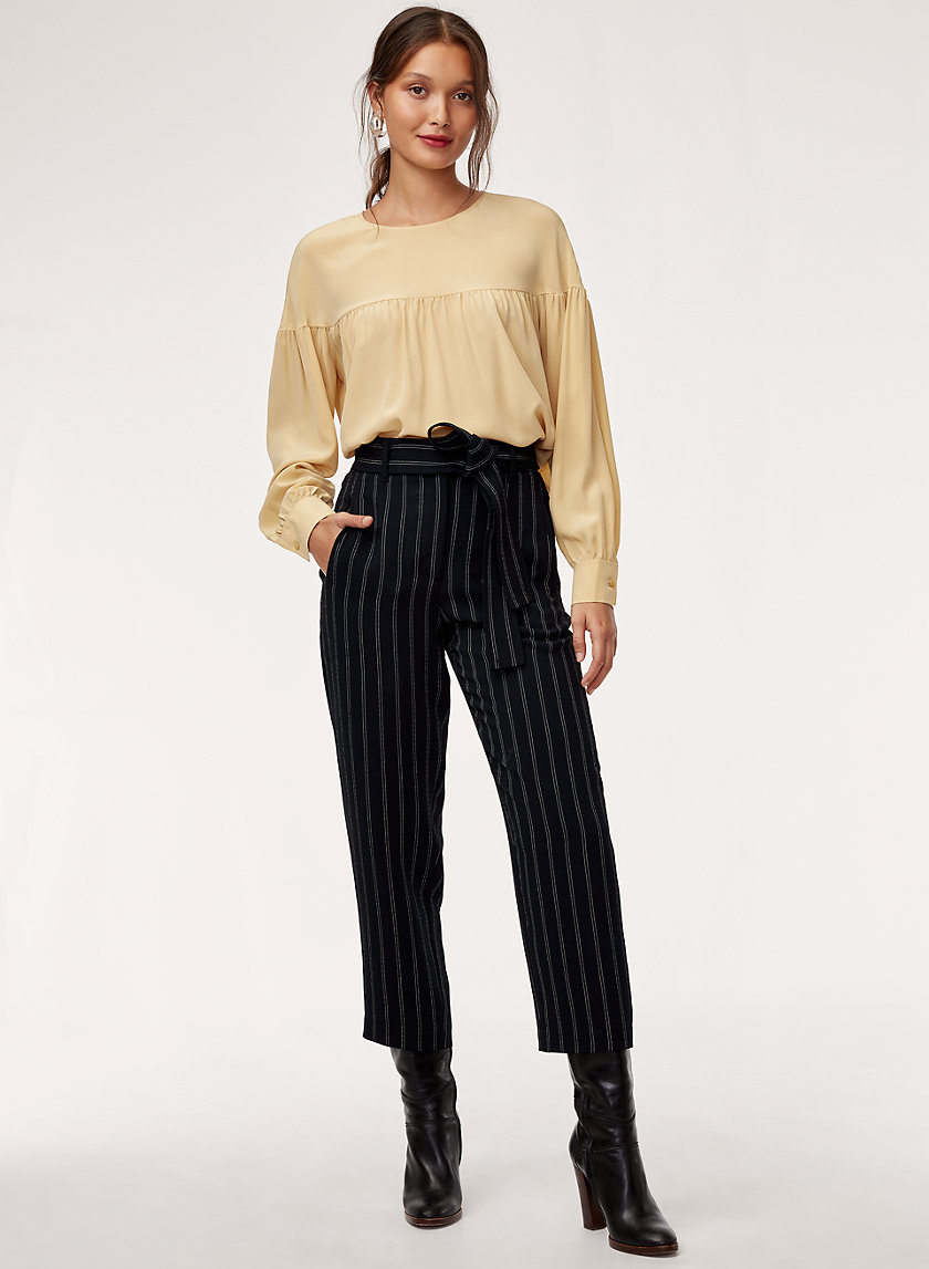 TIE-FRONT PANT - Pinstripe, high-waisted dress pant
