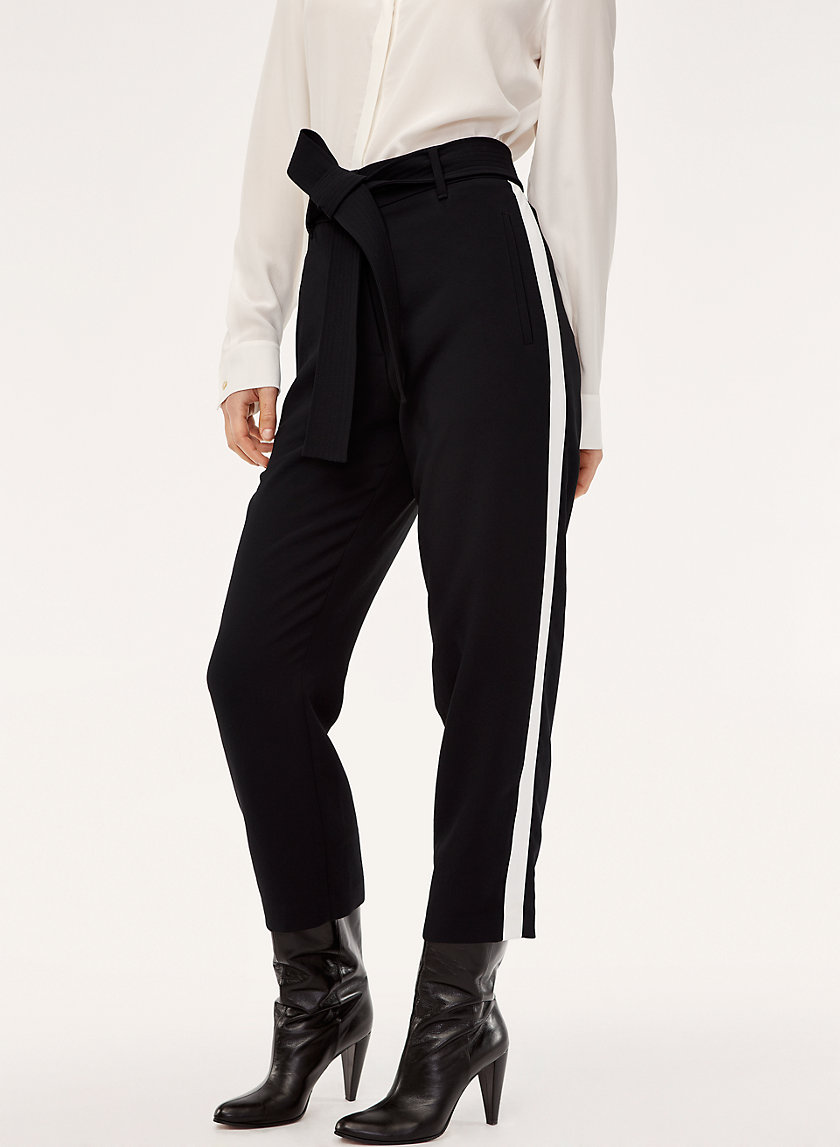 TIE-FRONT PANT - High-waisted trousers with side stripe