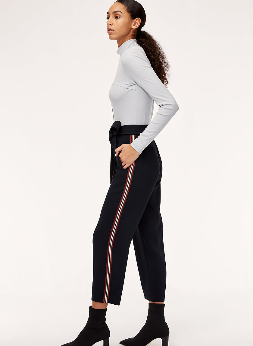 JALLADE PANT CREPE - High-waisted trousers with side stripe
