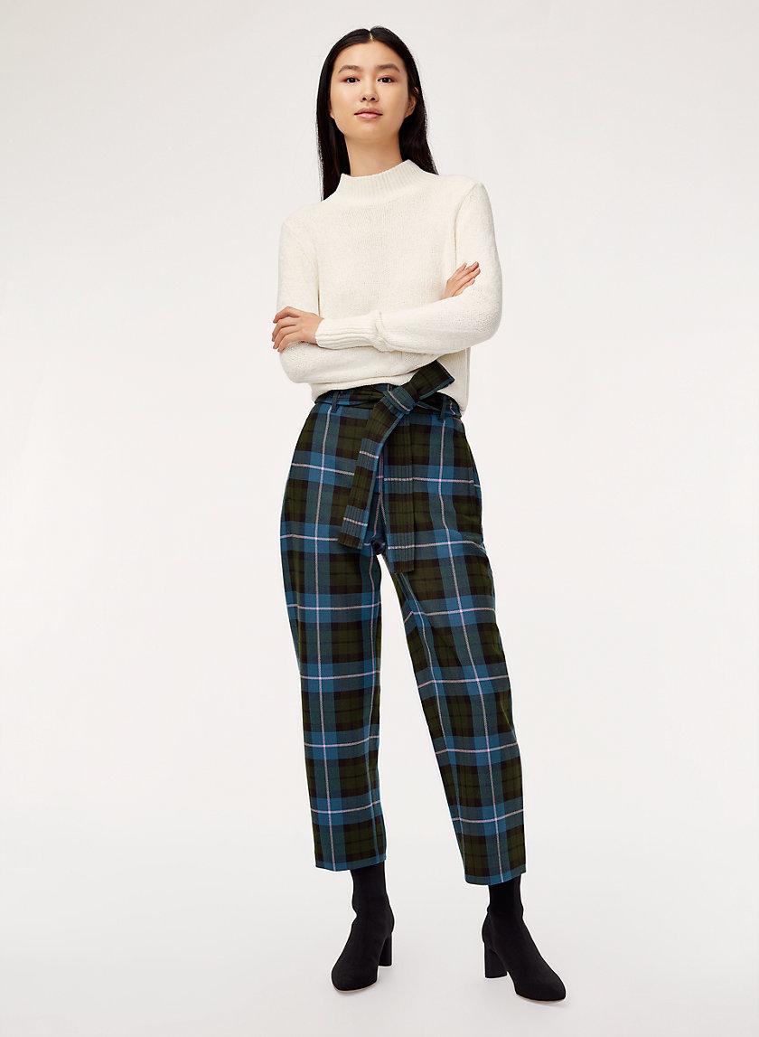 JALLADE PANT - Plaid, high-waisted dress pant