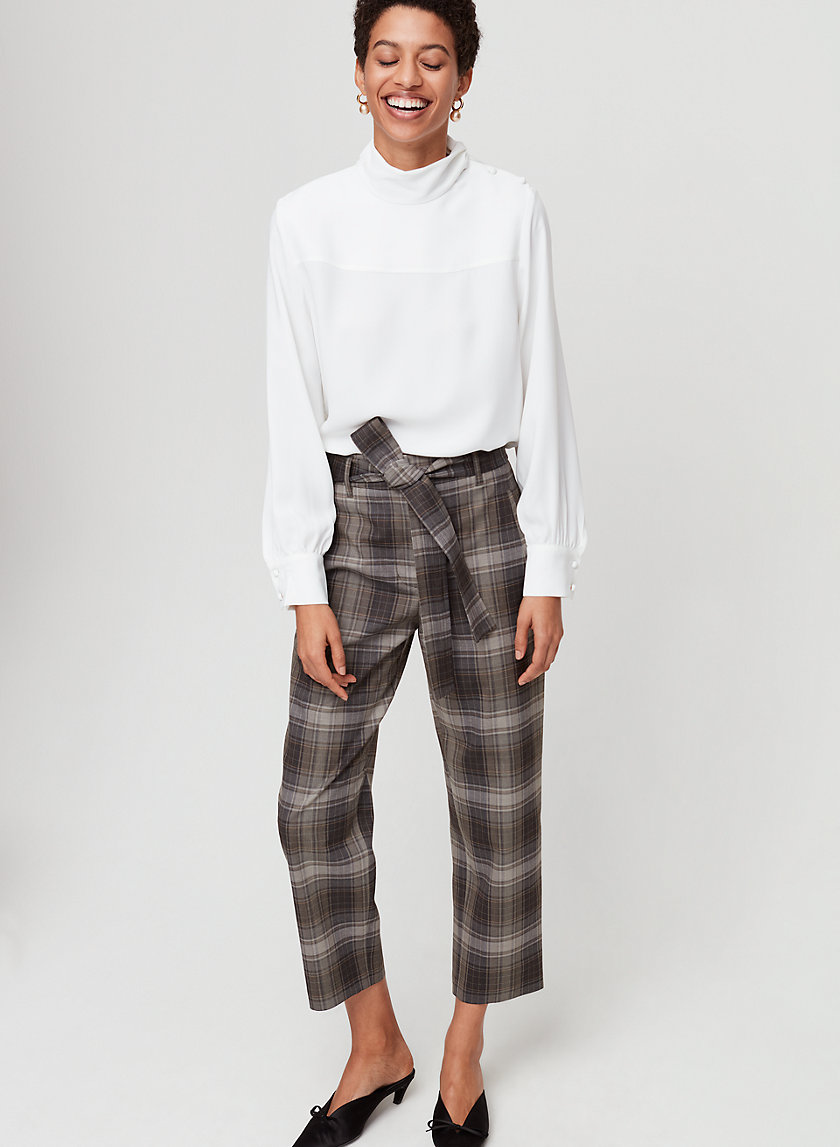 JALLADE PANT - Cropped, high-waisted checkered pant