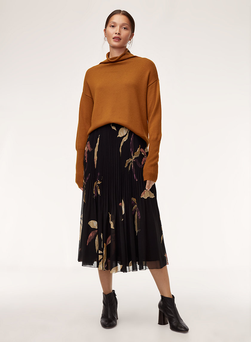 TERRE SKIRT - Pleated, chiffon, floral midi skirt