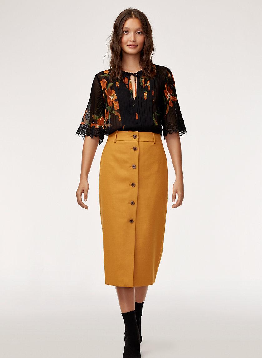 LEONA SKIRT - Buttoned, midi skirt