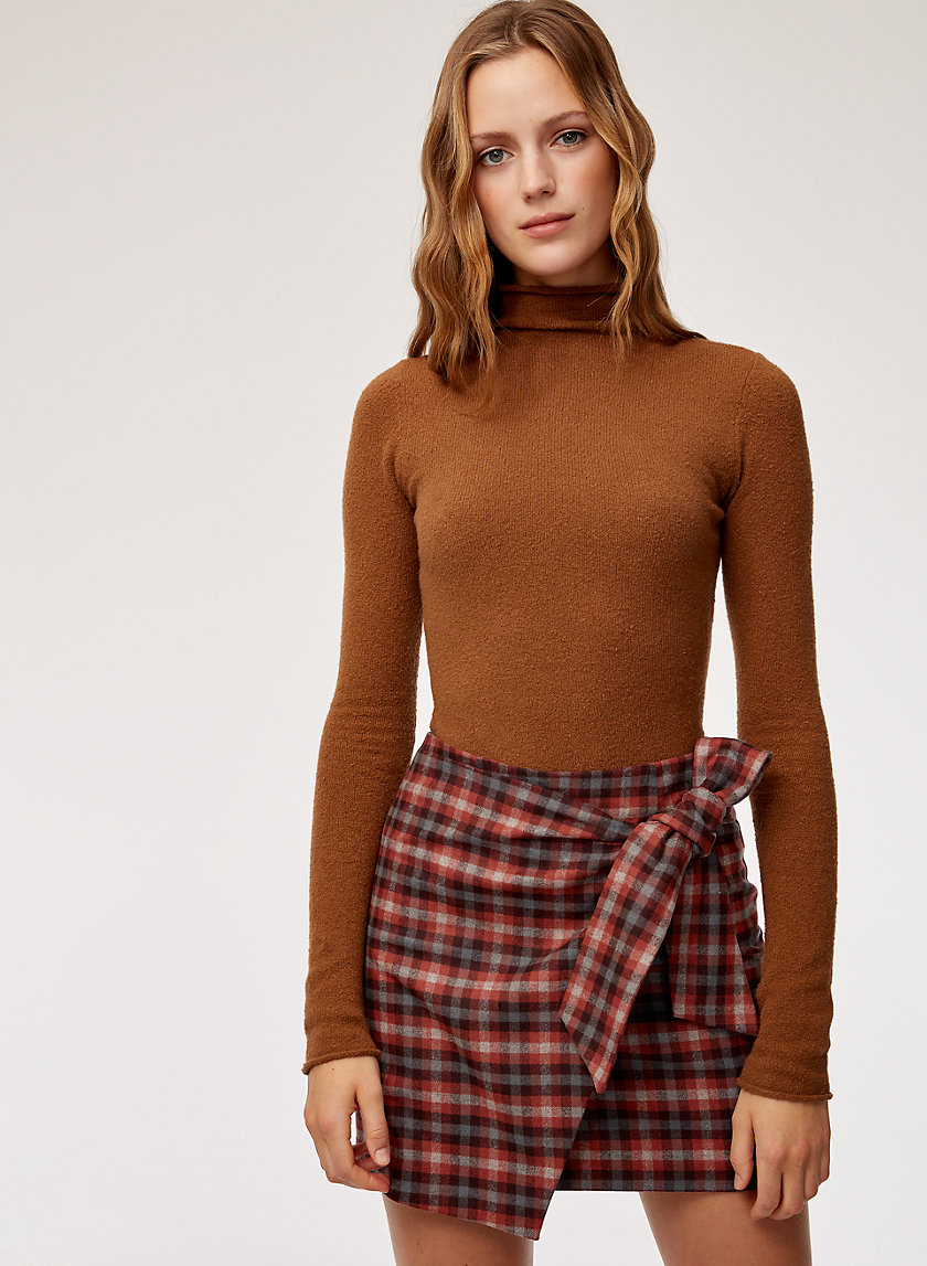 DORINE SKIRT - Checkered, faux-wrap mini skirt