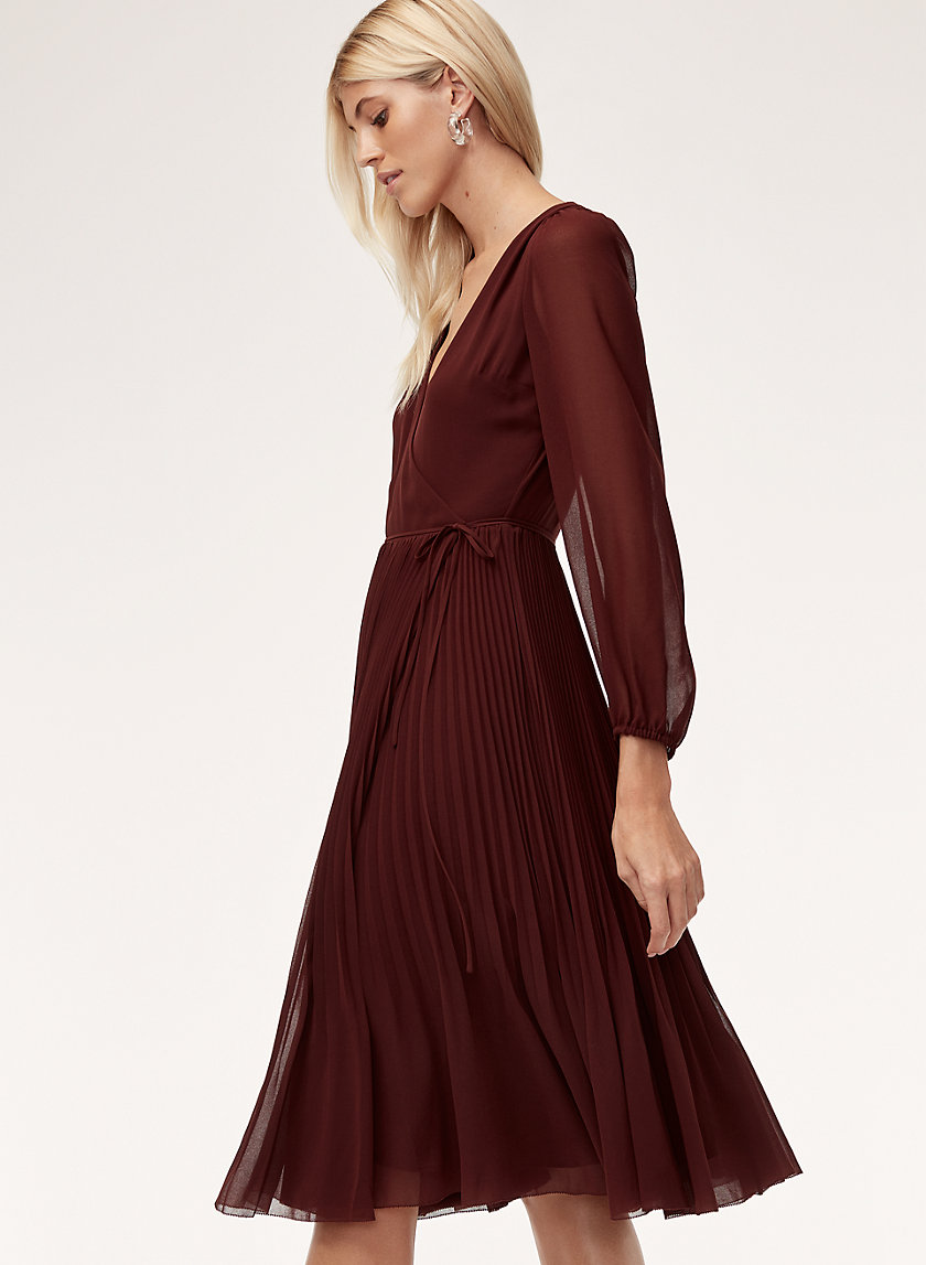 Beaune Dress   Lslv    Long Sleeve, Pleated Wrap Dress by Wilfred
