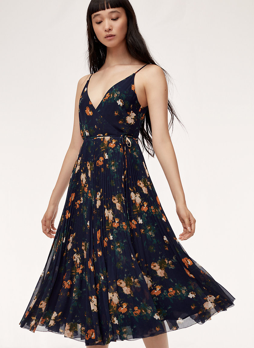 BEAUNE DRESS - Long, pleated, floral wrap dress