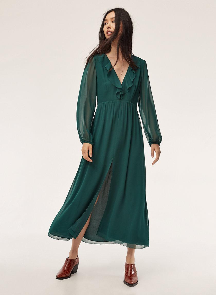 MILLIE DRESS - Long, chiffon, thigh-slit dress