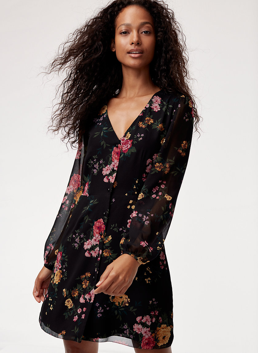NAZAIRE DRESS LS - Long-sleeve, floral mini dress