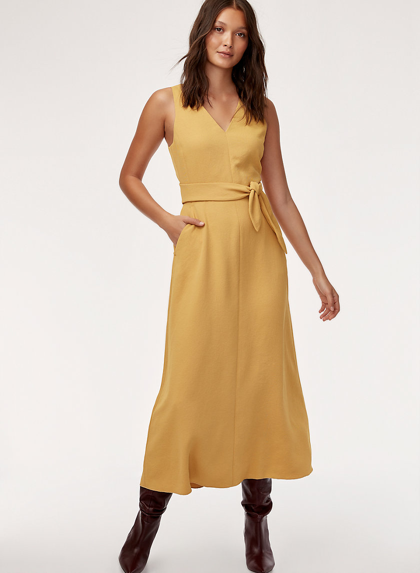 ÉCOULEMENT DRESS - Belted, V-neck midi dress