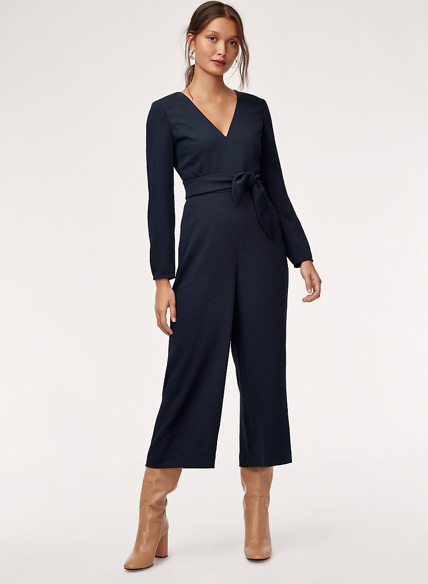 ÉCOULEMENT JUMPSUIT LS - Tie-waist, long-sleeve jumpsuit