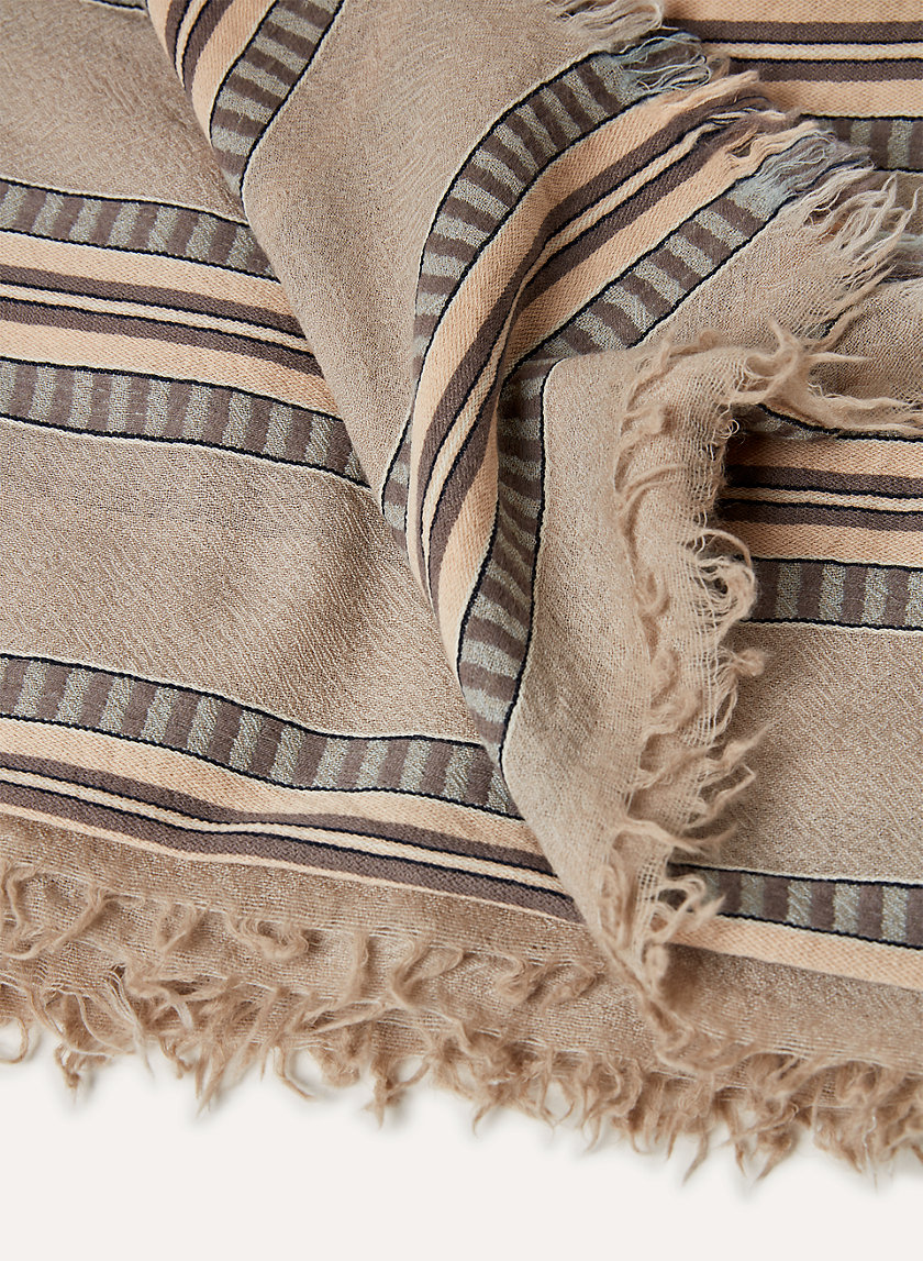 STRIPE BLANKET SCARF - Striped, wool blanket scarf