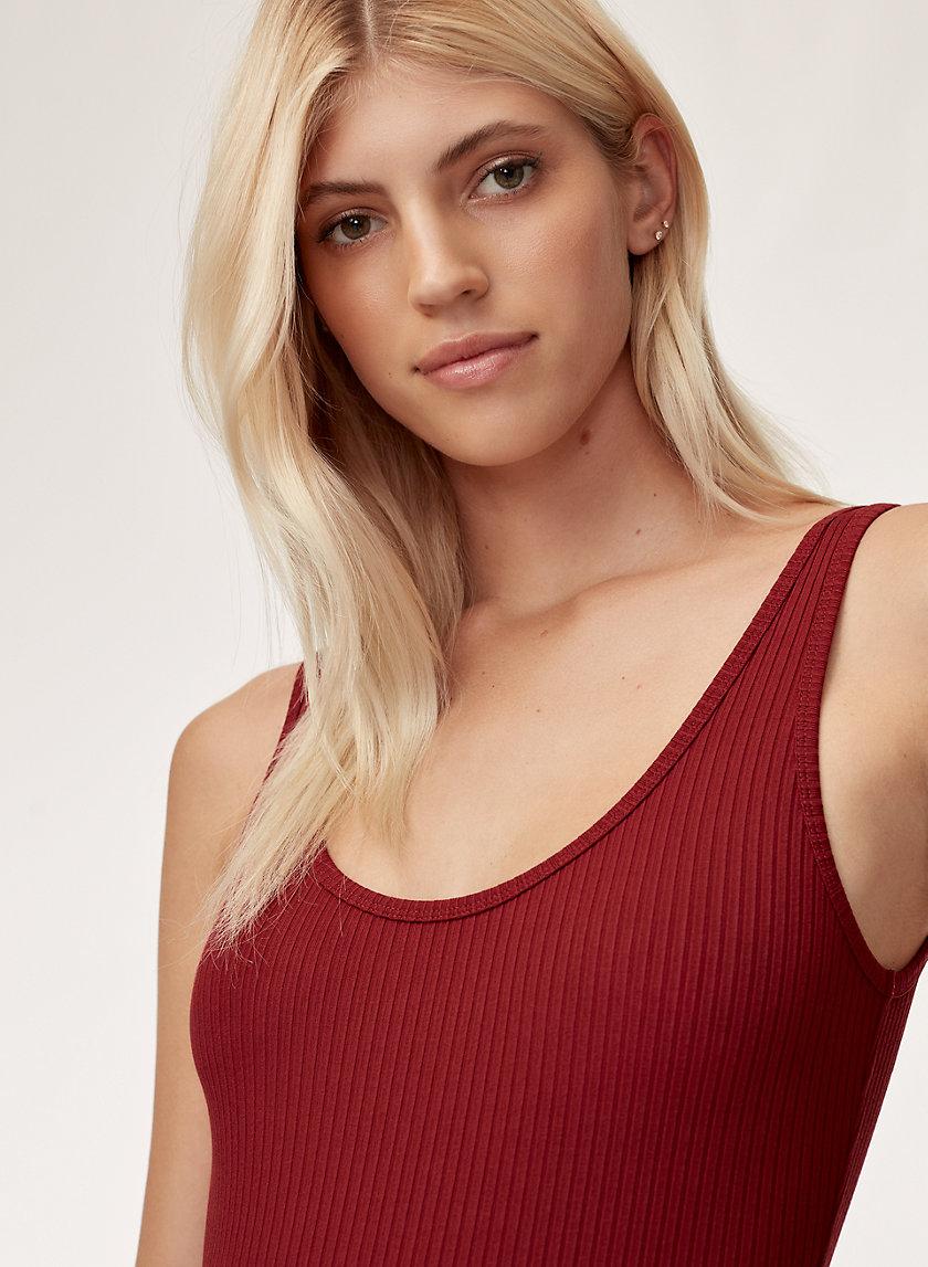 LEILA BODYSUIT - Ribbed, scoop-neck bodysuit