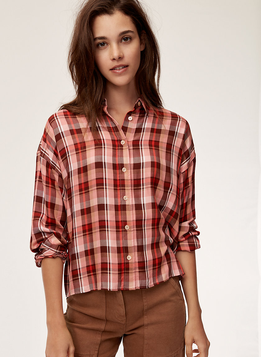 TEREZA SHIRT - Drop-shoulder plaid shirt