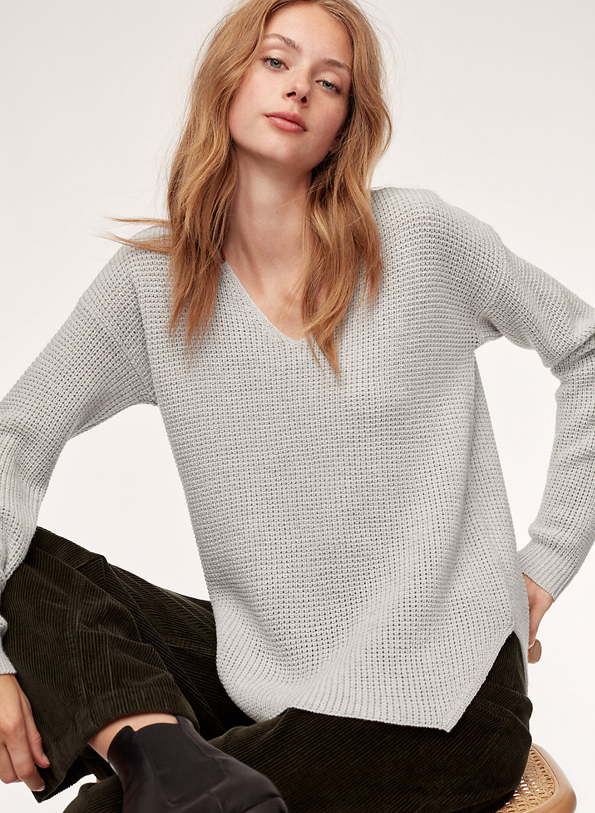 WOLTER SWEATER - Waffle-knit V-neck sweater