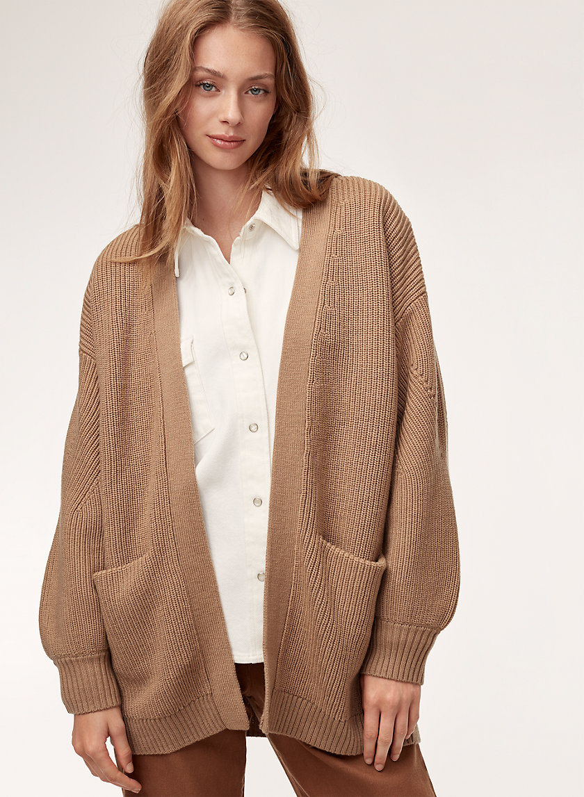 ROURKE SWEATER - Relaxed, open-front, knitted cardigan