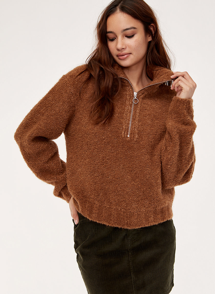GWYNETH SWEATER - Alpaca-blend quarter-zip sweater