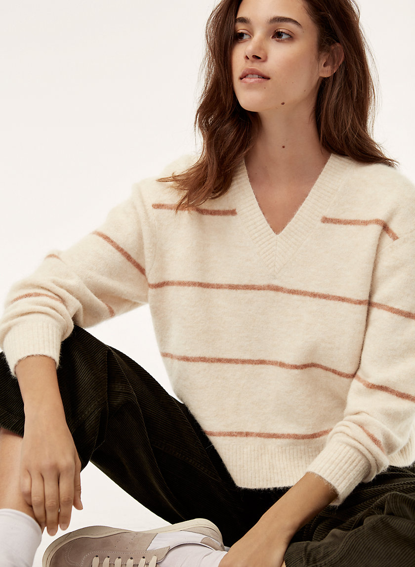 KRAUSE SWEATER - Striped, alpaca-blend V-neck sweater