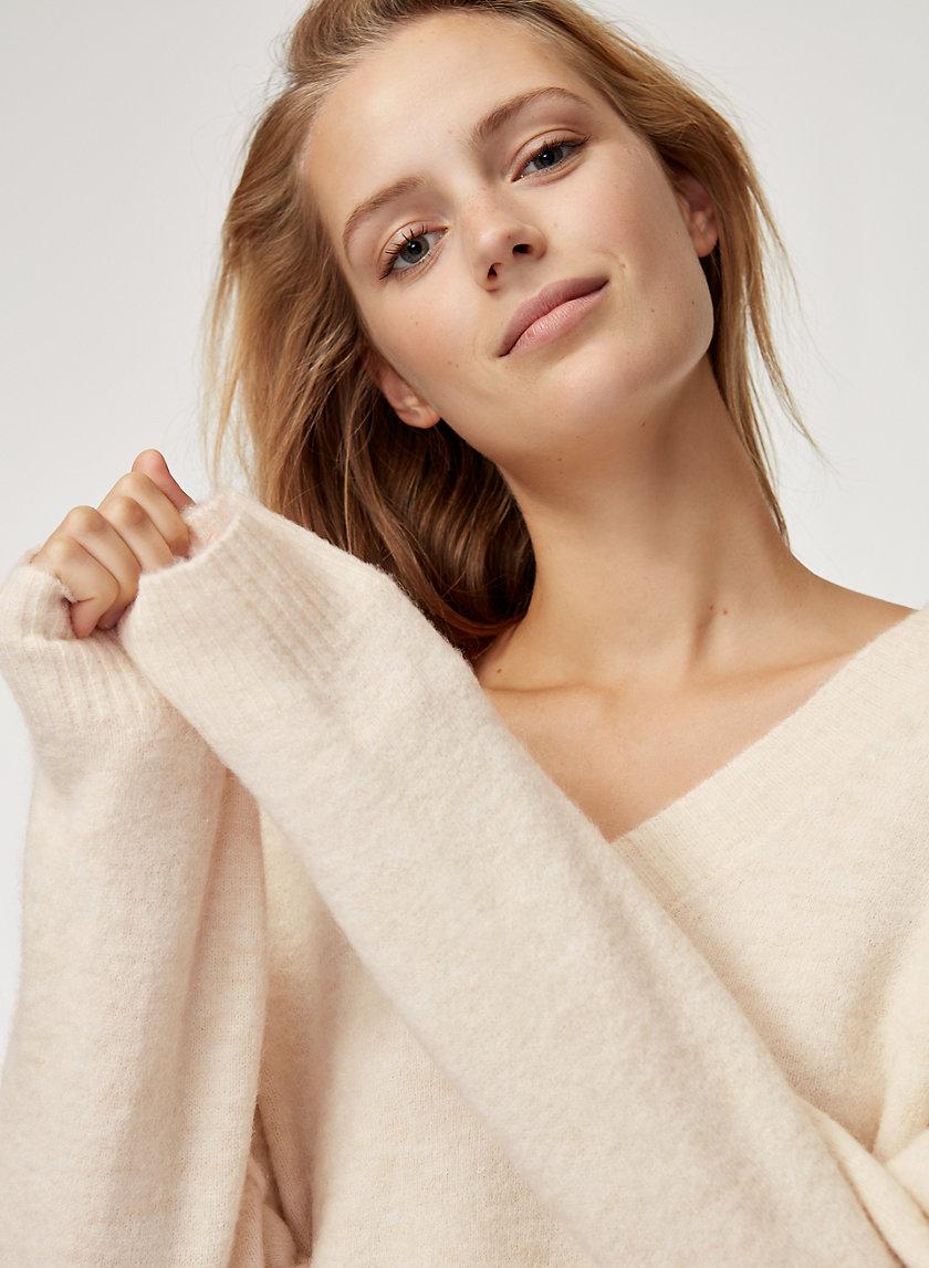 MERIAN SWEATER LONG - Oversized, textured V-neck sweater