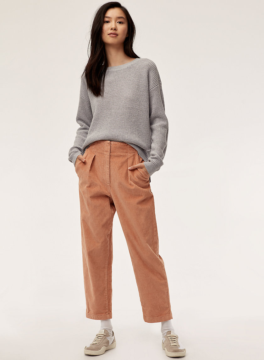 MIA PANT - Cropped, high-waisted corduroy pant
