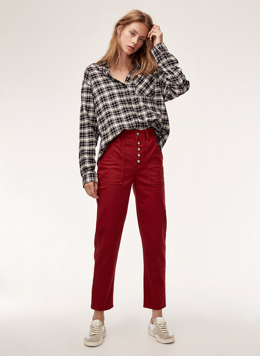 BELEN PANT - Cropped, high-waisted, buttoned pant