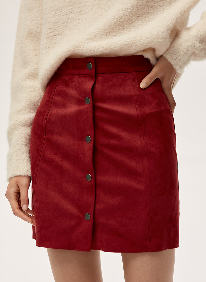 CENTINELA SKIRT - Faux suede, button front skirt