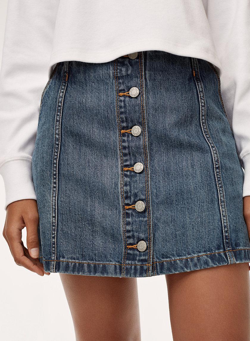 AHRENS SKIRT - Button front, denim mini skirt