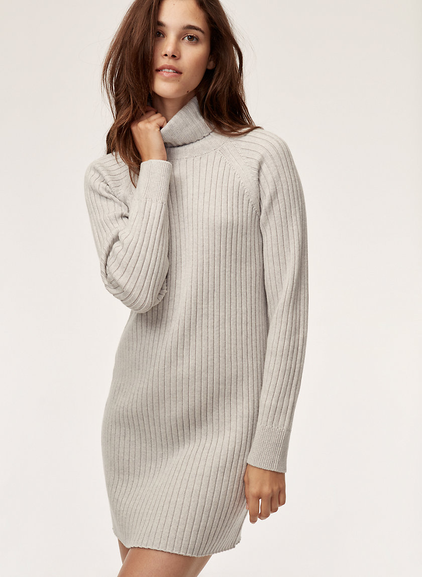 BIANCA DRESS - Ribbed, turtleneck sweater dress