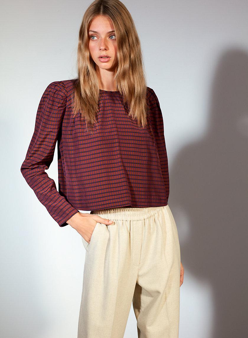 RAPHAELLE BLOUSE - Long-sleeve, checkered blouse