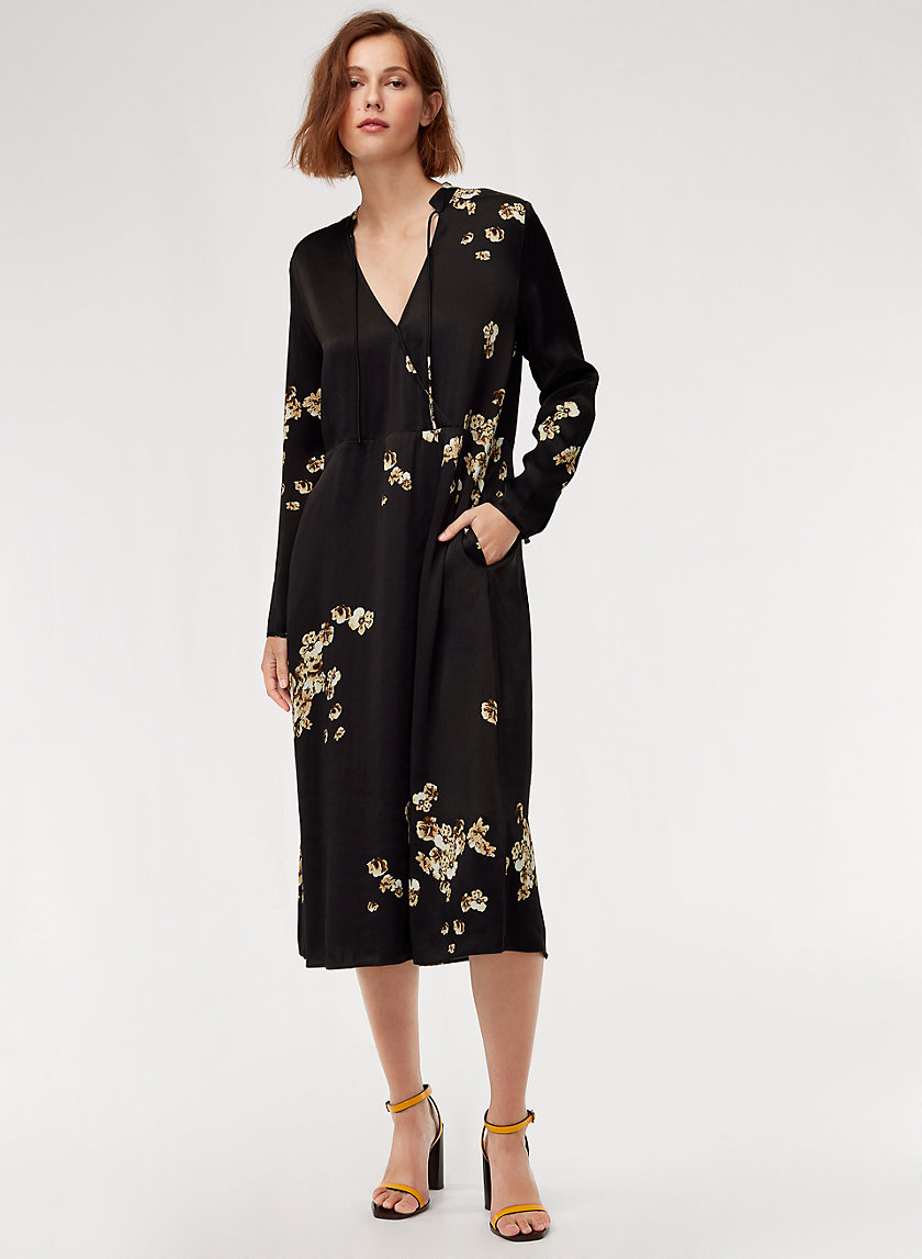 LAUREL DRESS - Long-sleeve, satin, floral midi dress