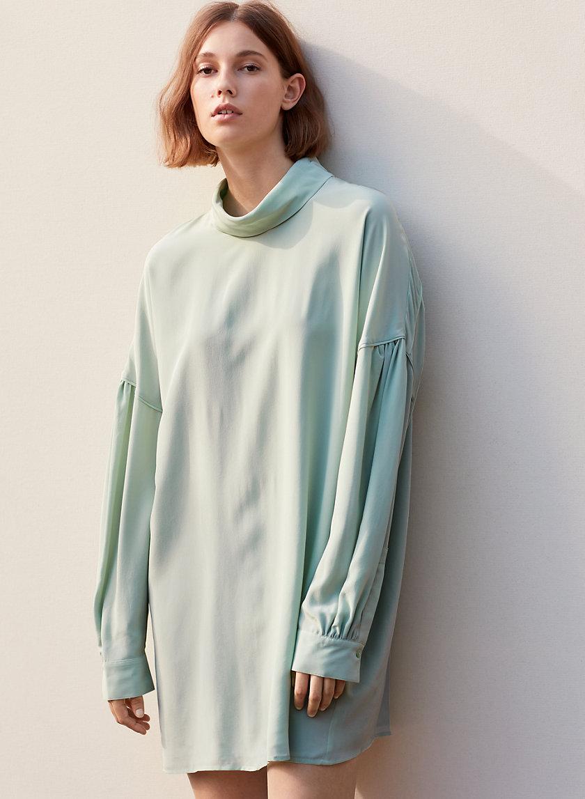 AUDETTE DRESS - Mock-neck silk dress
