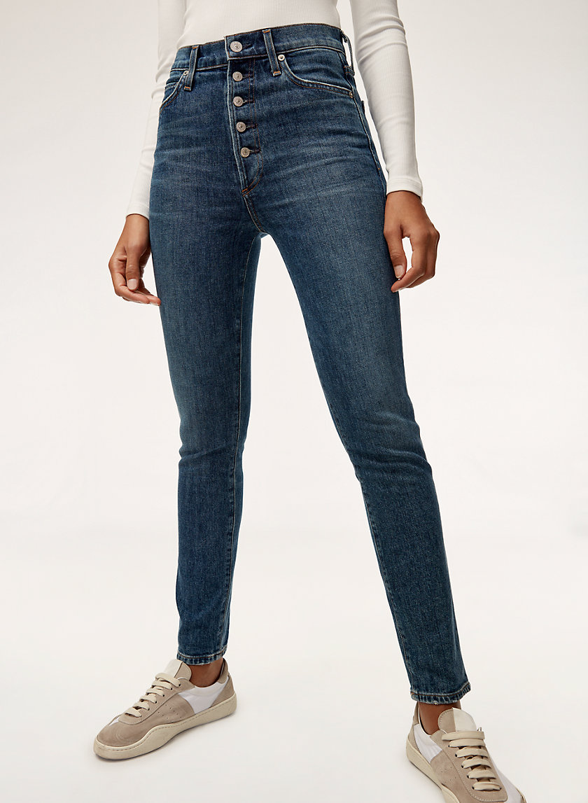OLIVIA EXPOSED FLY - High-waisted skinny jean
