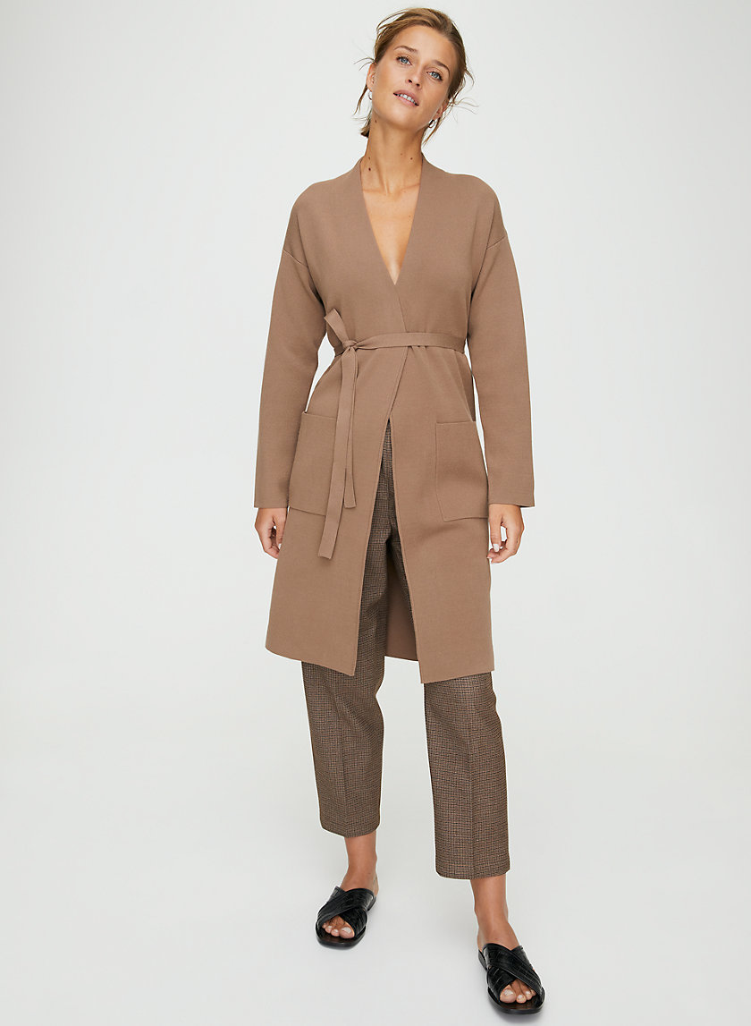 TY CARDIGAN - Belted cardigan sweater with pockets