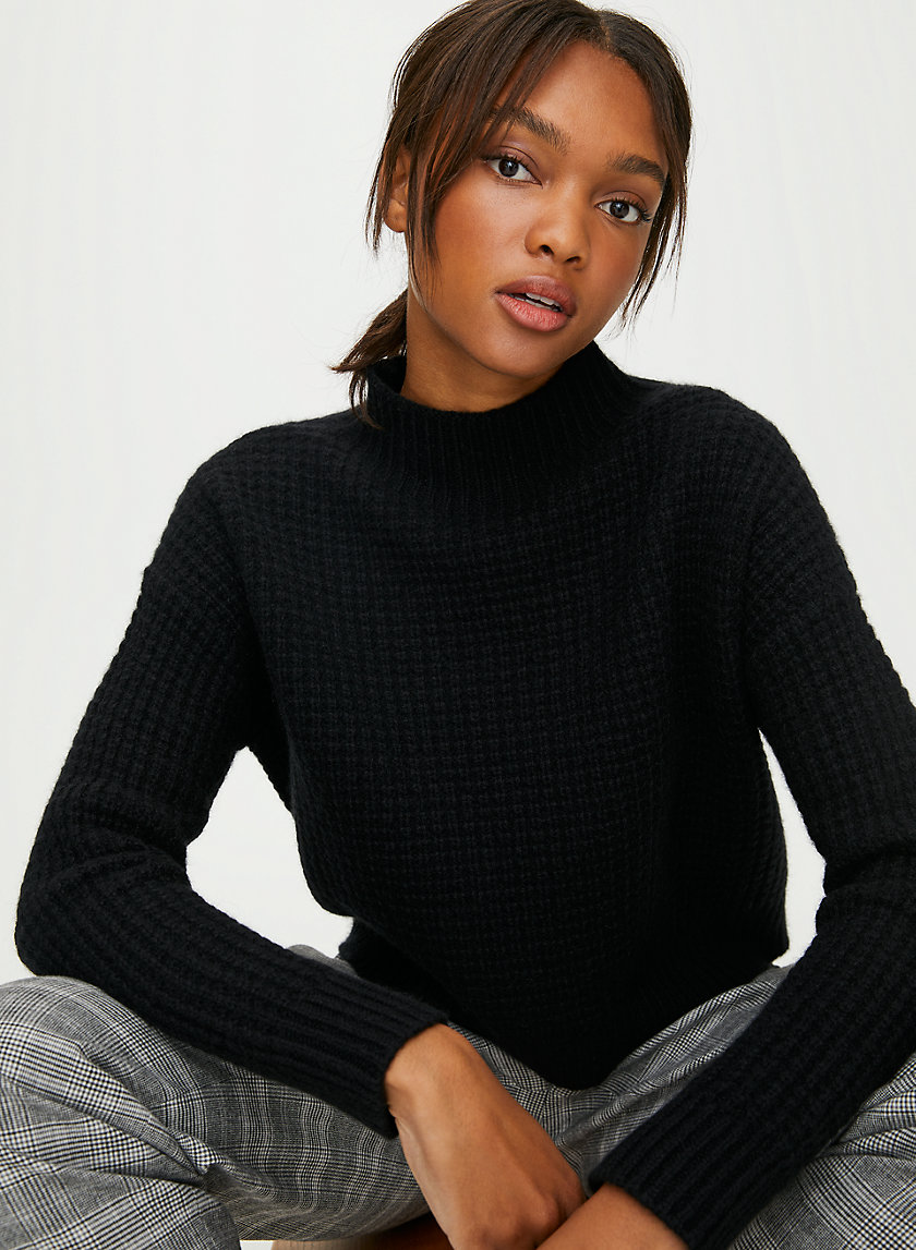 JUDITH CASHMERE SWEATER - Waffle-knit turtleneck sweater