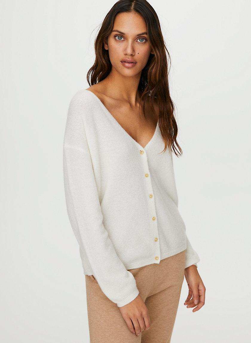 LOUNGE CARDIGAN - Wool-cashmere cardigan sweater