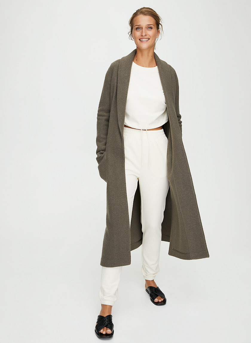 LUXE LOUNGE WOOL JACKET - Long, open-front, merino-wool jacket
