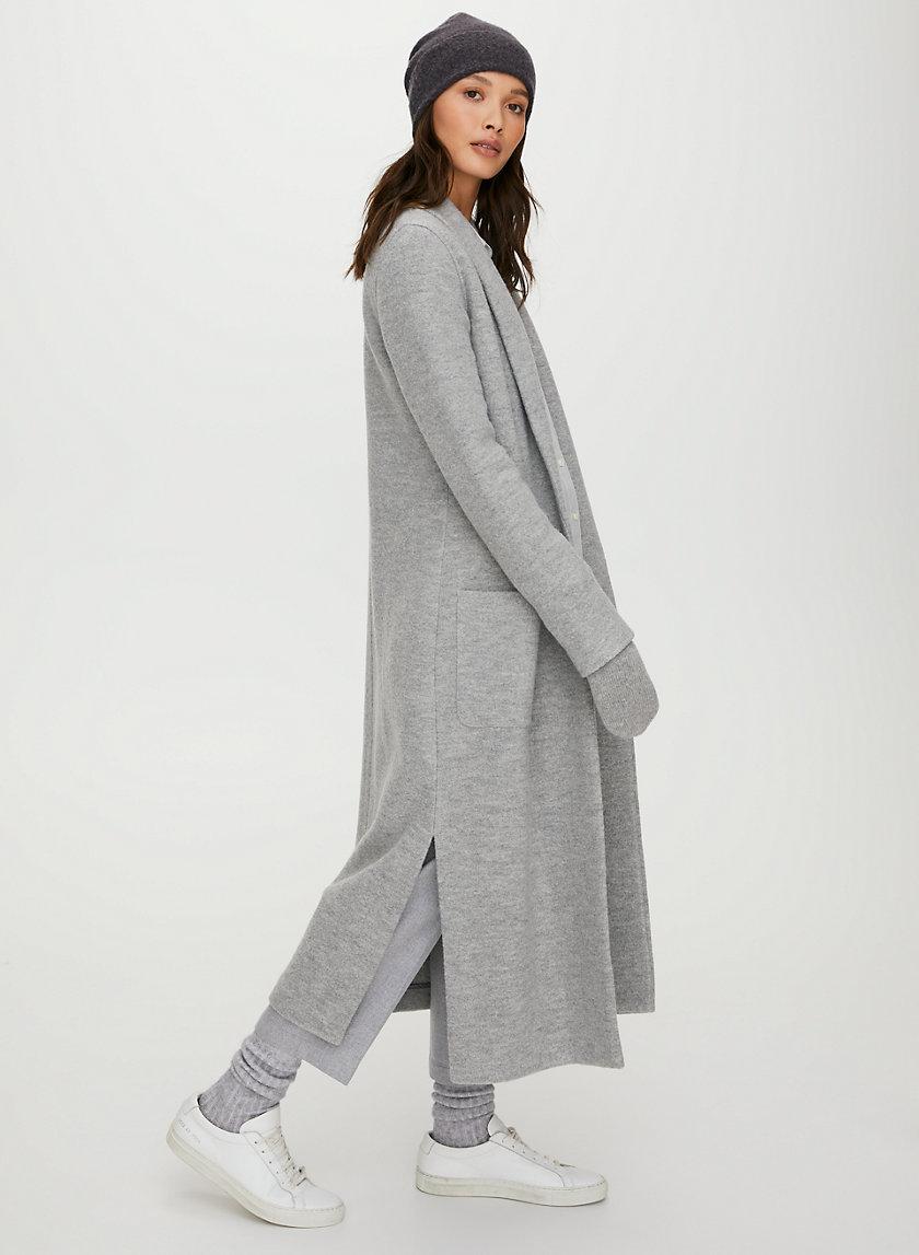 LUXE LOUNGE WOOL JACKET - Long, open-front, merino-wool jacket