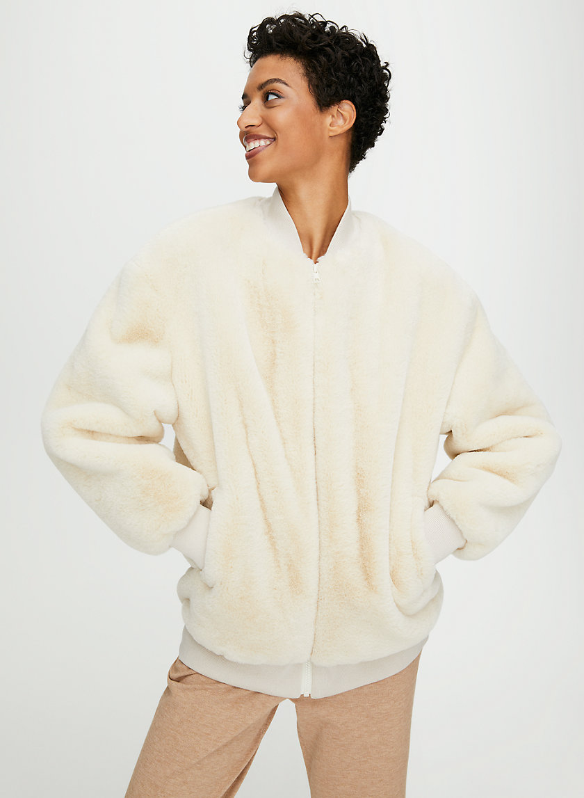 FAUX FUR BOMBER JACKET - Faux fur bomber jacket