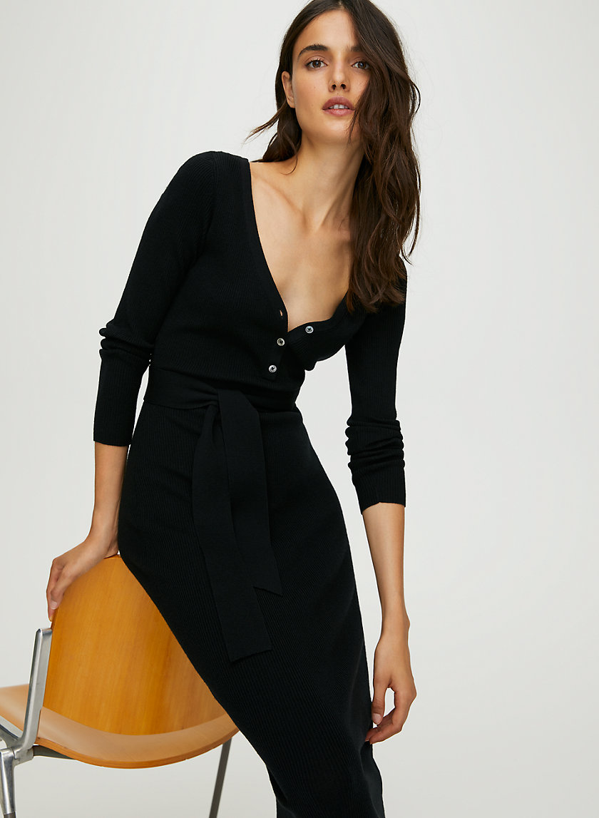 CHELSEA DRESS - Bodycon henley sweater dress