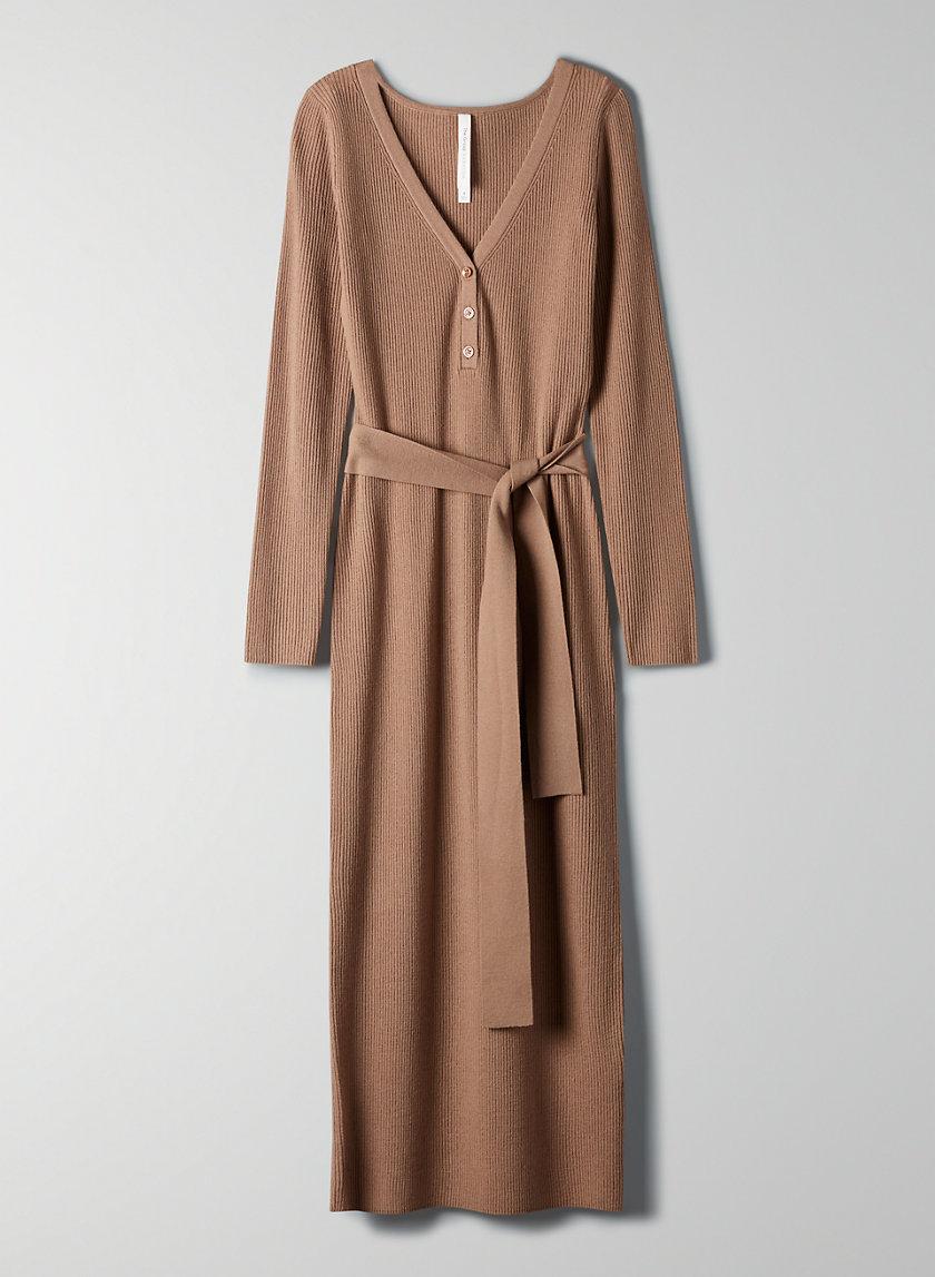 HENLEY SWEATER DRESS - Bodycon henley sweater dress