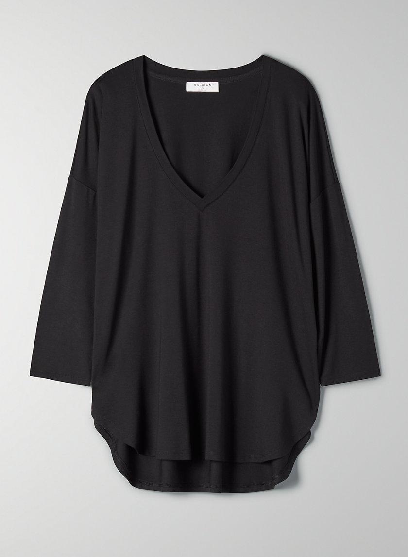 NORRIS V-NECK T-SHIRT - Long-sleeve boxy t-shirt