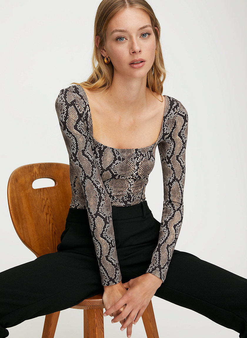 MILFORD BODYSUIT - Square-neck snake-print bodysuit