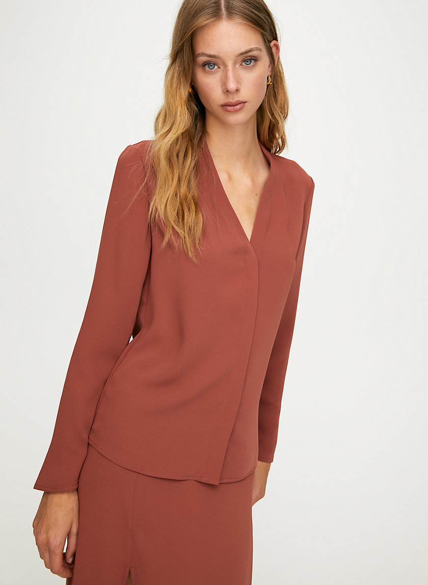 POWER BLOUSE - Long-sleeve, matte-satin blouse