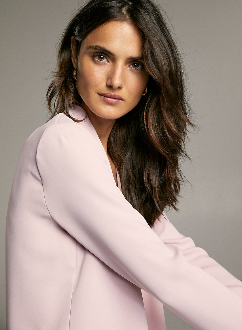 POWER BLOUSE - Long-sleeve, matte-satin blouse